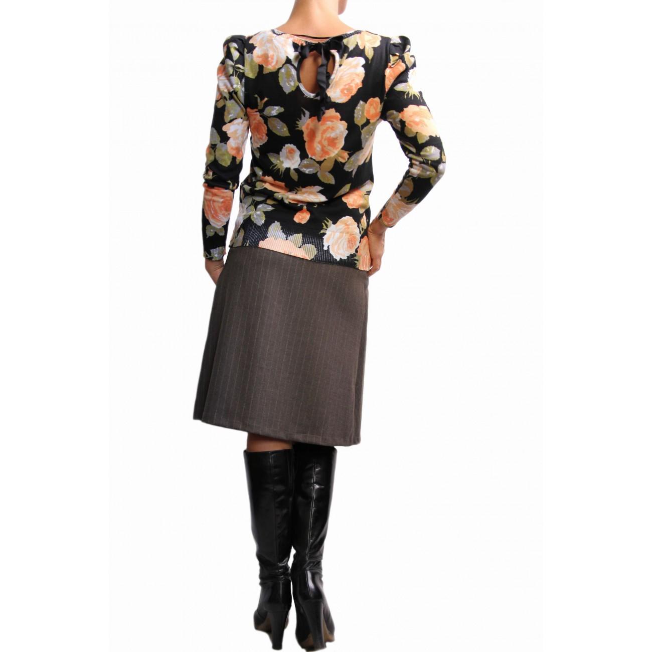 """Блуза из хлопка с обработкой под """"велюр"""" с рисунком """"розы"""""""