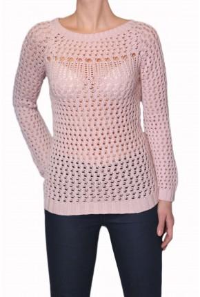 Пуловер из хлопка ажурной вязки