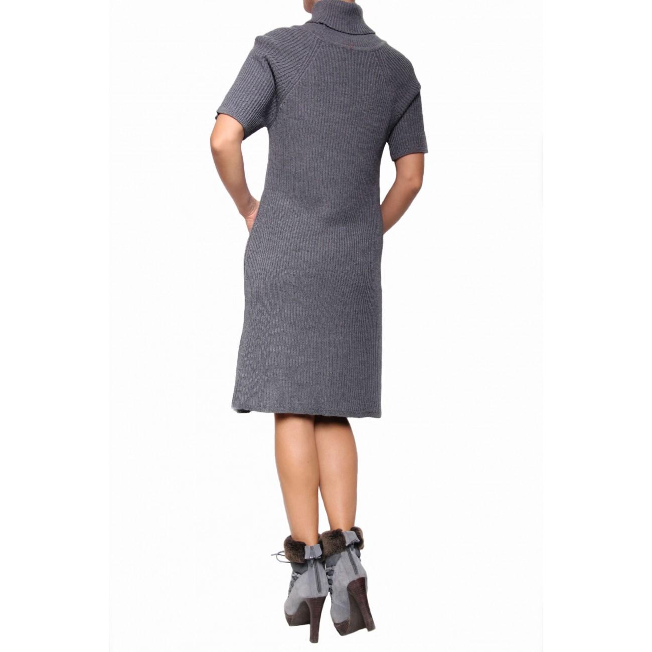 """Платье - свитер  из тонкой шерсти вязкой - """"гафре"""""""