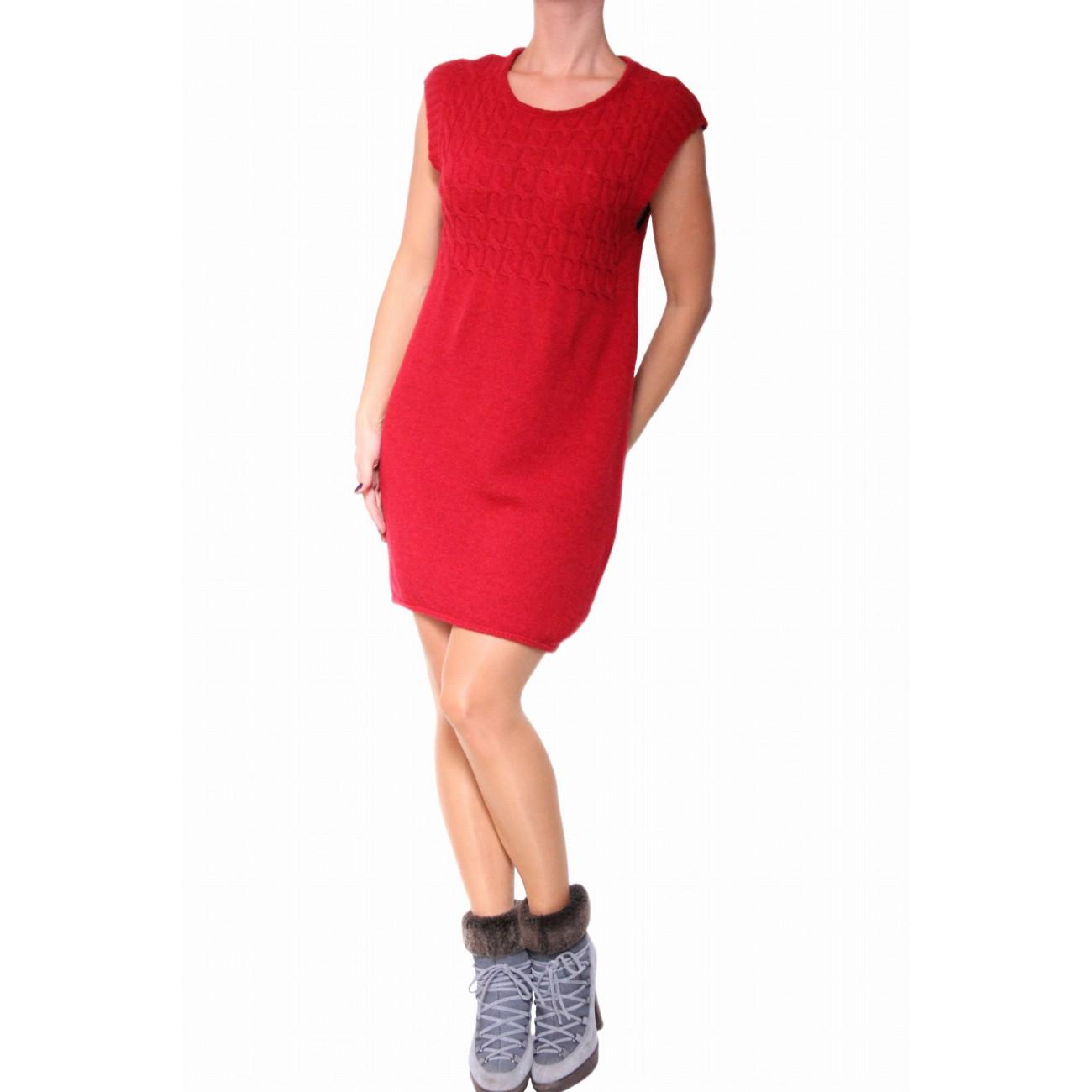 Платье-туника из шерсти с ажурной вязкой без рукава