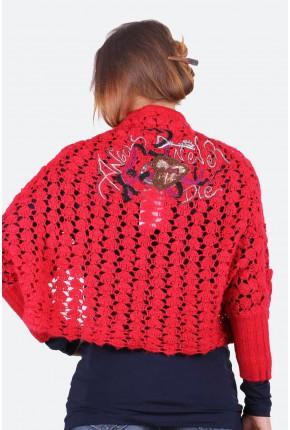 Болеро из шерсти ажурной вязки c вышивкой на спине