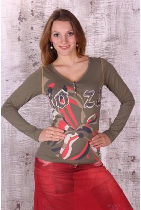 """Футболка с цветным принтом и логотипом-апликацией """"Roza"""""""