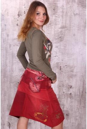 Юбка из комбинированных тканей с вышивкой