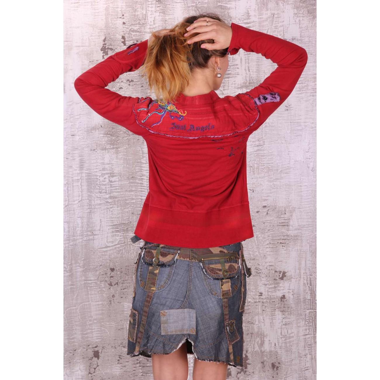 Рубашка из комбинированных трикотажных хлопковых тканей с оригинальной вышивкой