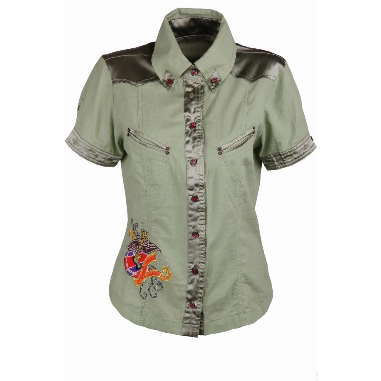 Рубашка со съемным рукавом, атласными вставками и вышивкой