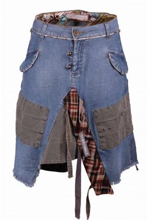 Юбка-трапеция джинсовая оригинального кроя в стиле casual