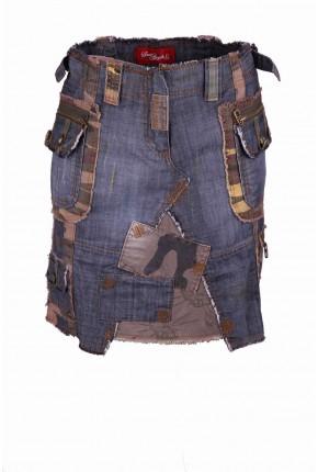 """Юбка джинсовая в стиле casual c накладными карманами и вставками из ткани """"парусина"""""""