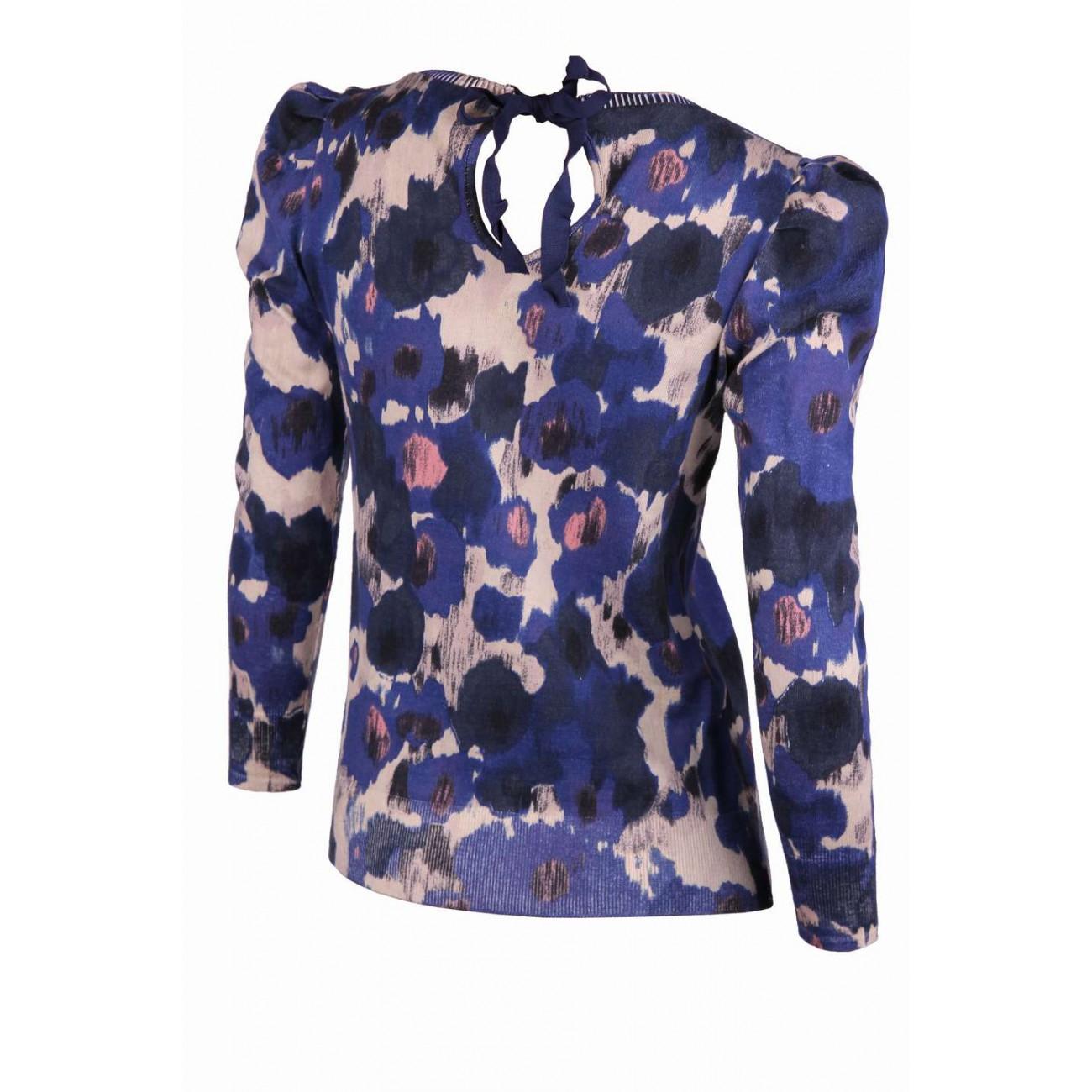 """Блуза из хлопка с обработкой под """"велюр"""" с рисунком """"цветы"""""""