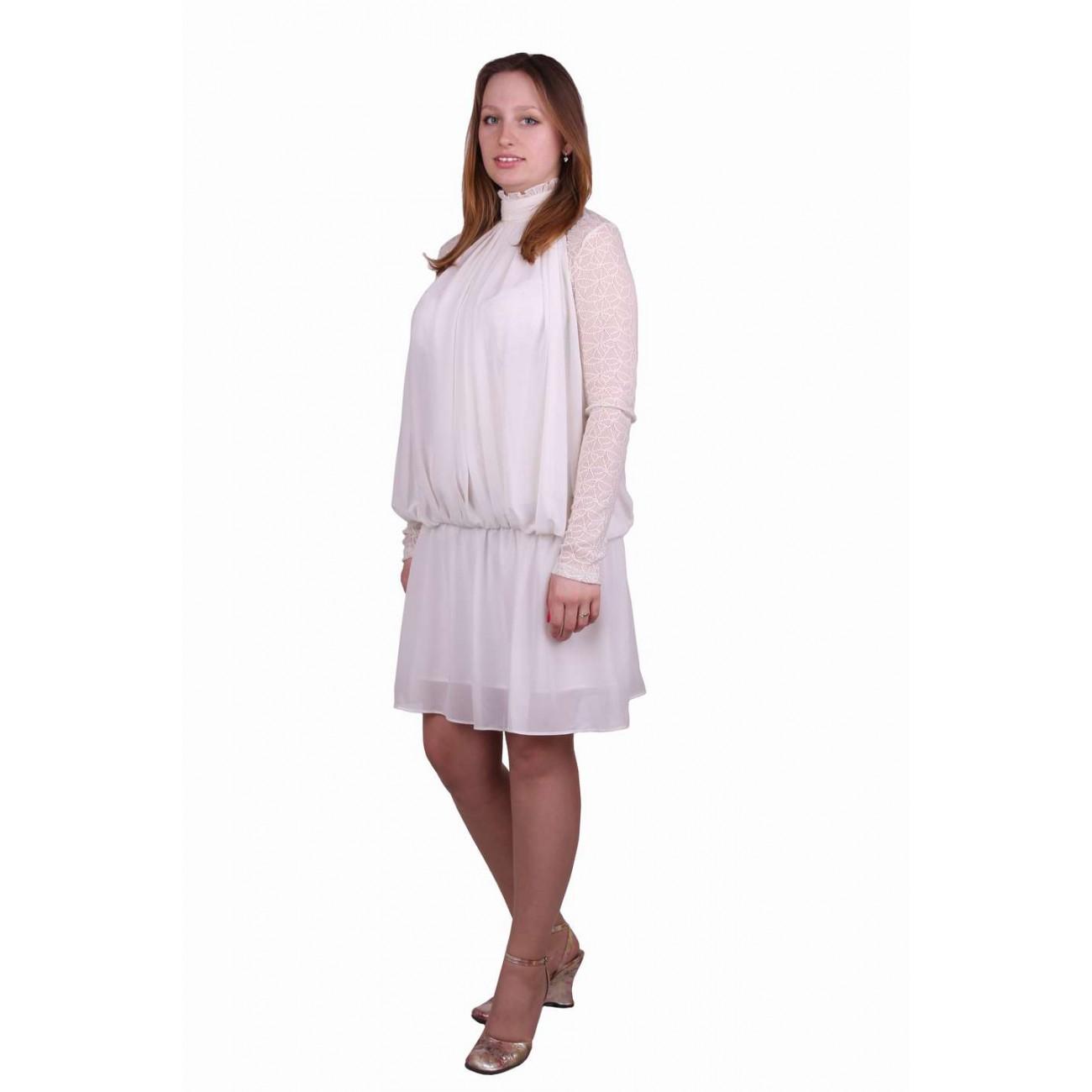 Платье из шифона и гипюра со стойкой