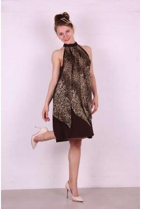 Платье из шелка с леопардовыми клиньями