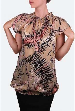 """Блуза -туника из натурального шелка с воротником """"стойка"""""""