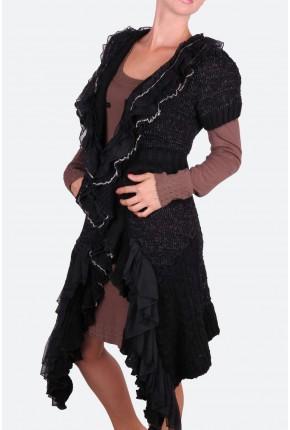Кардиган черный с ассиметричным подолом и тройным воланом