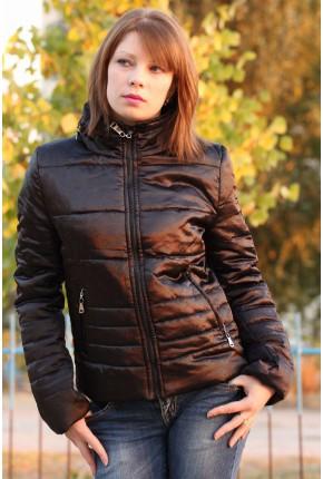Куртка  из итальянского атласа с воротником стойка