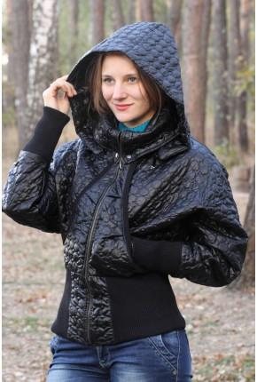 """Куртка из термостеганого итальянского полиэстра с обработкой """"под кожу"""""""