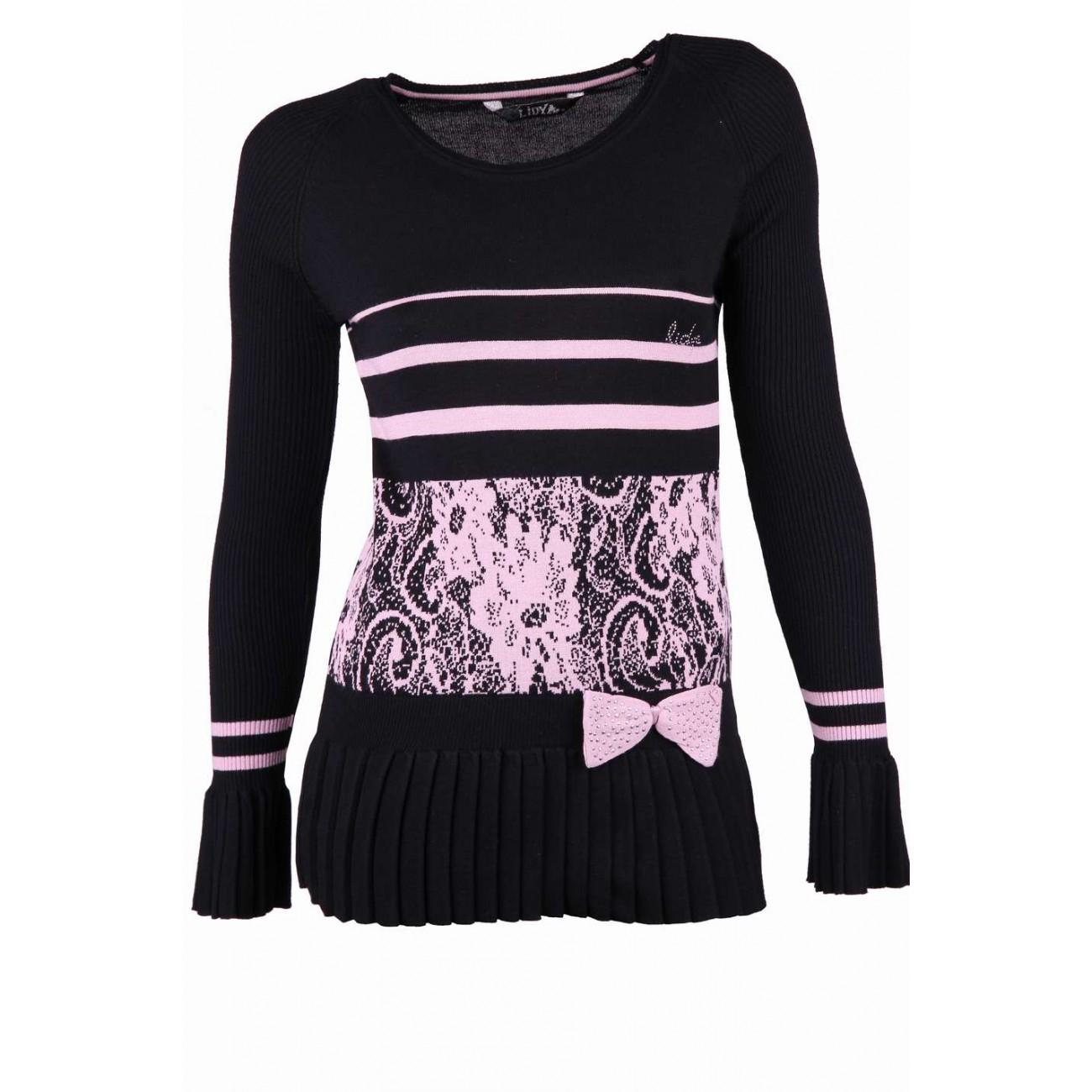 """Пуловер c гафрированным рукавом и баской. с узором """"цветы"""""""