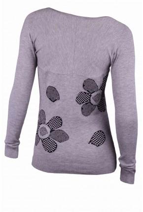 """Пуловер с принтом """"ромашка"""" и стразами Swarovski"""