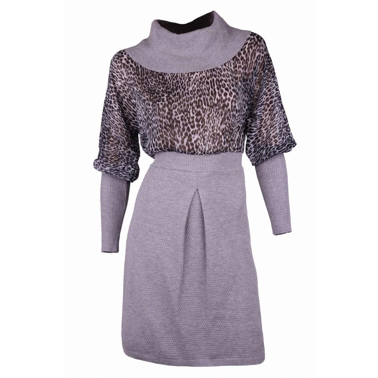 Платье с шифоновым цельно-кроенным рукавом