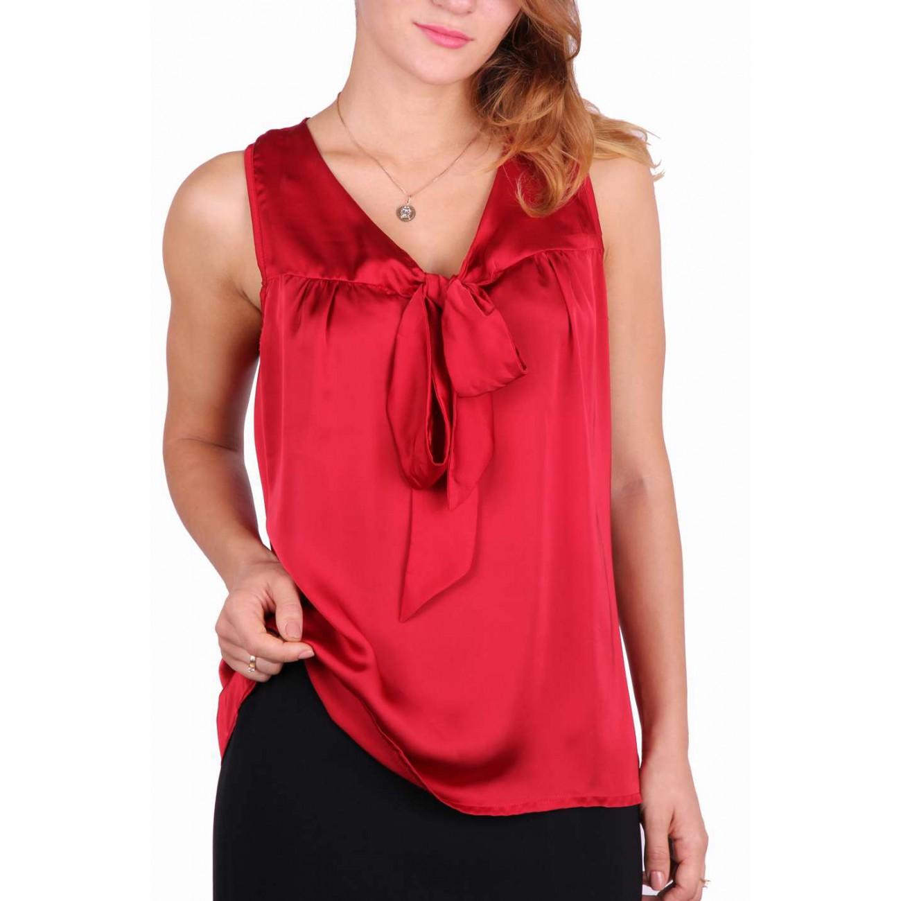 """Блуза шелковая с вырезом """"мыс"""""""" бант-шарф"""""""
